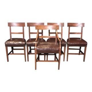 Walnut Regency Chairs With Inlaid Frames and Diamond Backs - Set of 5 For Sale