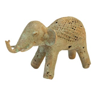 Mid 20th Century African Oxidized Bronze Wire and Mesh Design Elephant For Sale