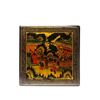 19th Century Chinese Lacquered Golden Candy Box With Hand Painted Garden Scene Detail For Sale