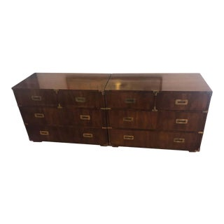 Pair of Mid Century Modern Campaign Dressers by Henredon For Sale