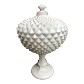 Vintage Milk Glass Studded Pedestal Bowl For Sale