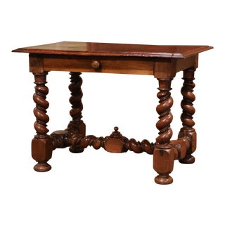 Mid-19th Century, French, Louis XIII Carved Walnut Barley Twist Table Desk For Sale