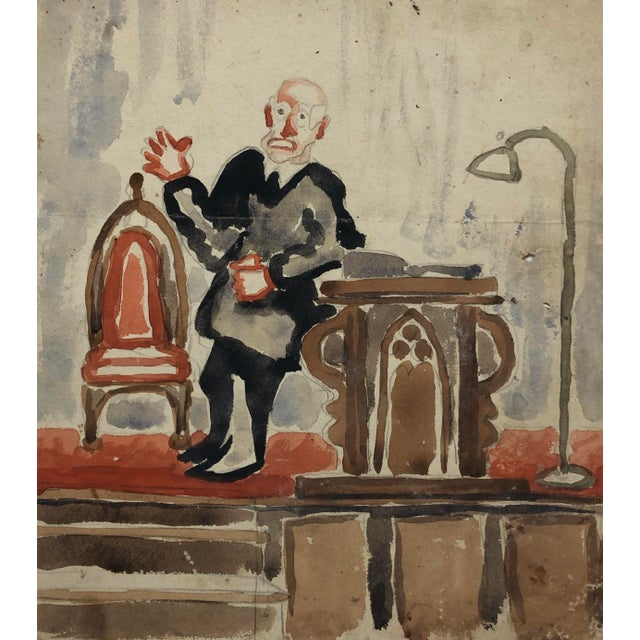Preacher With a Gothic Chair, Watercolor by Alf Evers, 1930s For Sale - Image 4 of 4