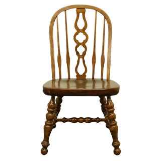 1980s Vintage Ethan Allen Antiqued Pine Old Tavern Bowback Dining Side Chair For Sale
