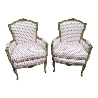 Vintage Mid Century French Style Bergere Chairs- a Pair For Sale