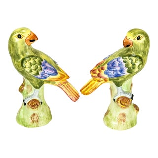 1970s Chelsea House Ceramic Green Parrots Italy - a Pair For Sale