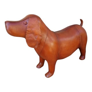Large Leather Animal Dog Footstool
