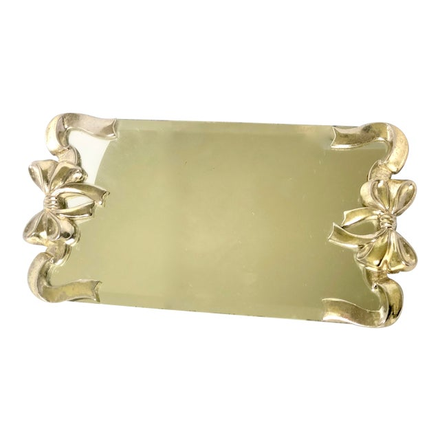 Vintage Silver Bow Glass & Mirrored Vanity Tray For Sale