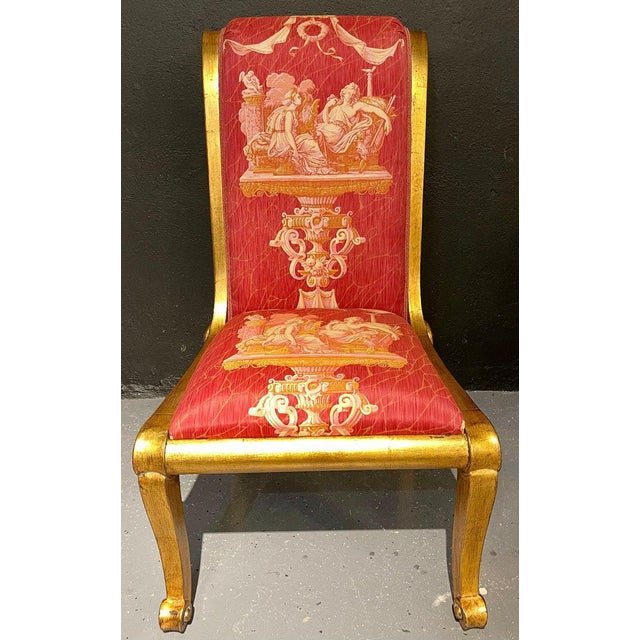 Ten neoclassical dining chairs in fine Versace style fabric. A stunning set of Greco Roman style large and impressive...