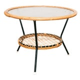 Image of Dutch Vintage Woven Rattan and Glass Top Low Table For Sale