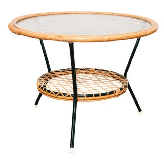 Dutch Vintage Woven Rattan and Glass Top Low Table For Sale