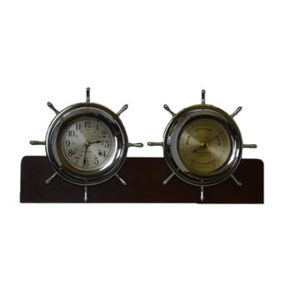 Seth Thomas Nautical Ship Wheel Clock and Barometer For Sale