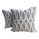 """Image of Jonathan Adler for Kravet """"Bodoni"""" Scroll Trellis Infinity Loop Pillows - a Pair For Sale"""