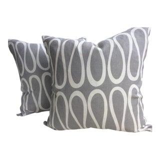 """Jonathan Adler for Kravet """"Bodoni"""" Scroll Trellis Infinity Loop Pillows - a Pair For Sale"""