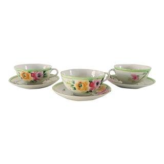 Antique Hand Painted Porcelain Floral Tea Cups & Saucers - Service for 3 For Sale