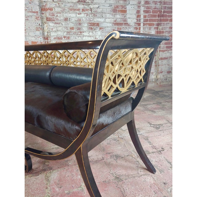 Textile Regency Laquered & Parcel Gilt Canape Settee W/Hide Upholstery For Sale - Image 7 of 10