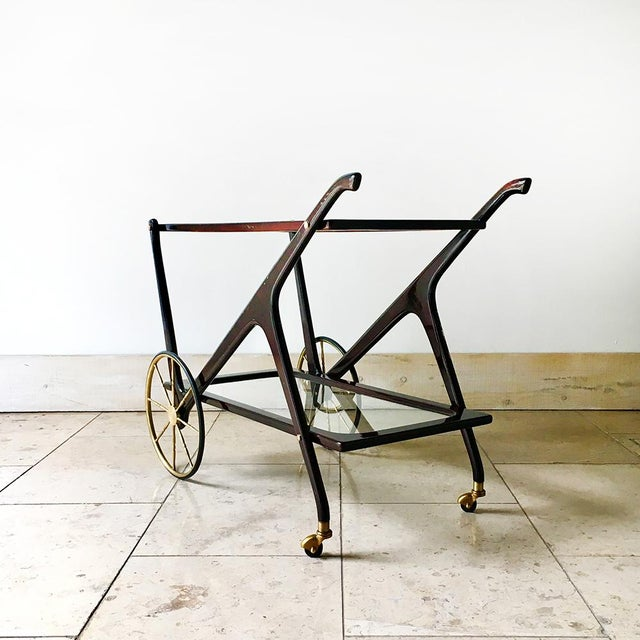 Italian Walnut and Brass Framed Two Tiered Barcart 1960s For Sale - Image 4 of 8