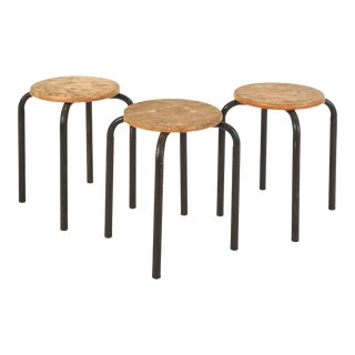 1950s Vintage French Mid-Century Modern Wood & Metal Painter Stools - Set of 3