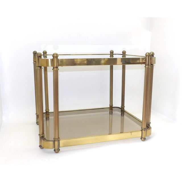 Hollywood Regency 1960's Hollywood Regency Brass 2 Tier Glass Side Table For Sale - Image 3 of 10