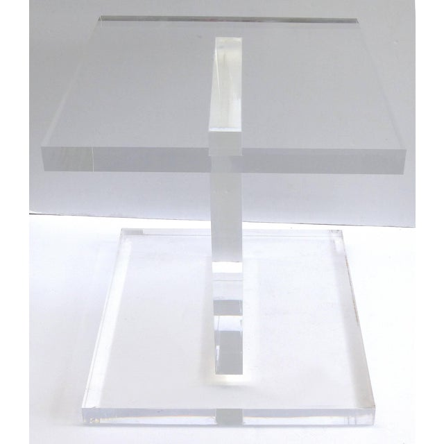 Custom Lucite Side Table With Removable Black Acrylic Sleeve For Sale - Image 4 of 7