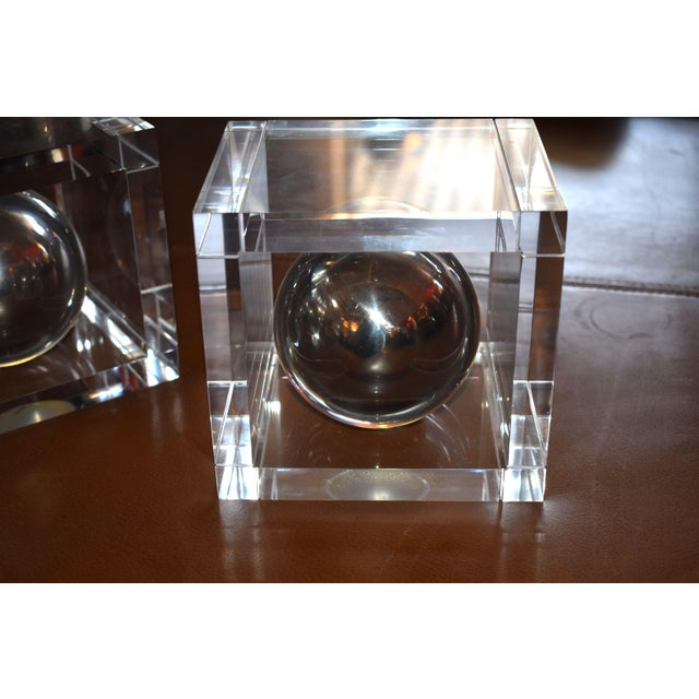 Mid-Century Modern Pair of Lucite Signed Bookends by Charles Hollis Jones For Sale - Image 3 of 5