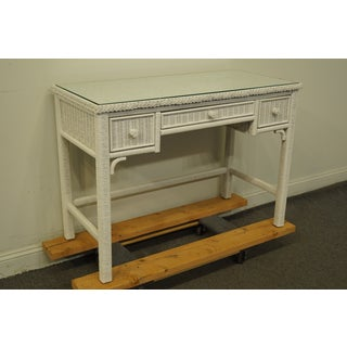 Lexington / Henry Link White Wicker Vanity / Student Writing Desk W. Glass Top 477-528 Preview