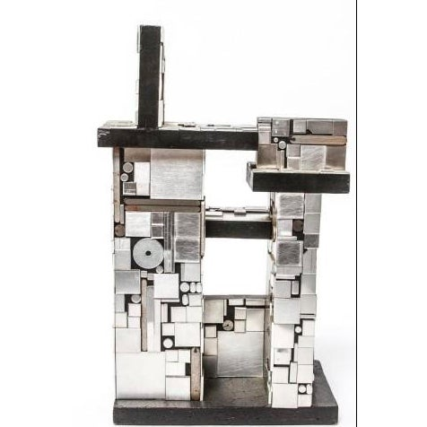 Abstract Industrial Metal and Wood Tabletop Abstract Sculpture For Sale - Image 3 of 8