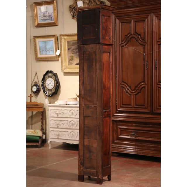 18th Century French Louis XV Carved Walnut and Burl Case Clock With Rooster For Sale - Image 11 of 12