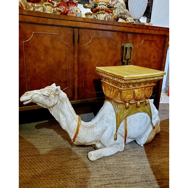 Large Ceramic Camel Plant Stand For Sale - Image 10 of 12