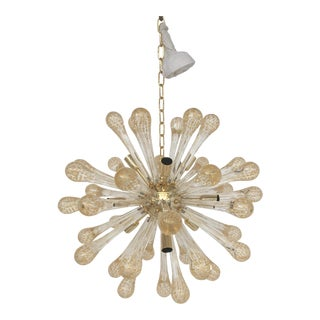 Murano Glass Gold and Transparent Sputnik Chandelier For Sale