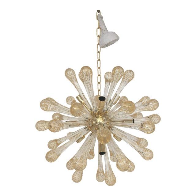 Murano Glass Gold and Transparent Sputnik Chandelier For Sale