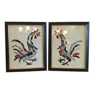 Mid Century Rooster Wall Art - a Pair For Sale