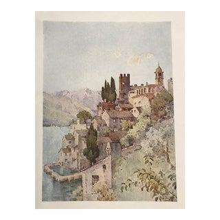1905 Original Italian Print - Italian Travel Colour Plate - Corenno, Lago DI Como For Sale