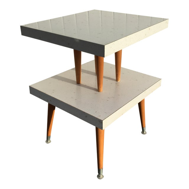 Mid-Century Two-Tier Formica Starburst Side Table - Image 1 of 8