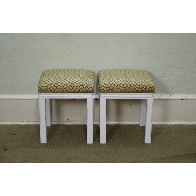 Mid Century Pair of Custom Painted Square Stools Benches - Image 2 of 11