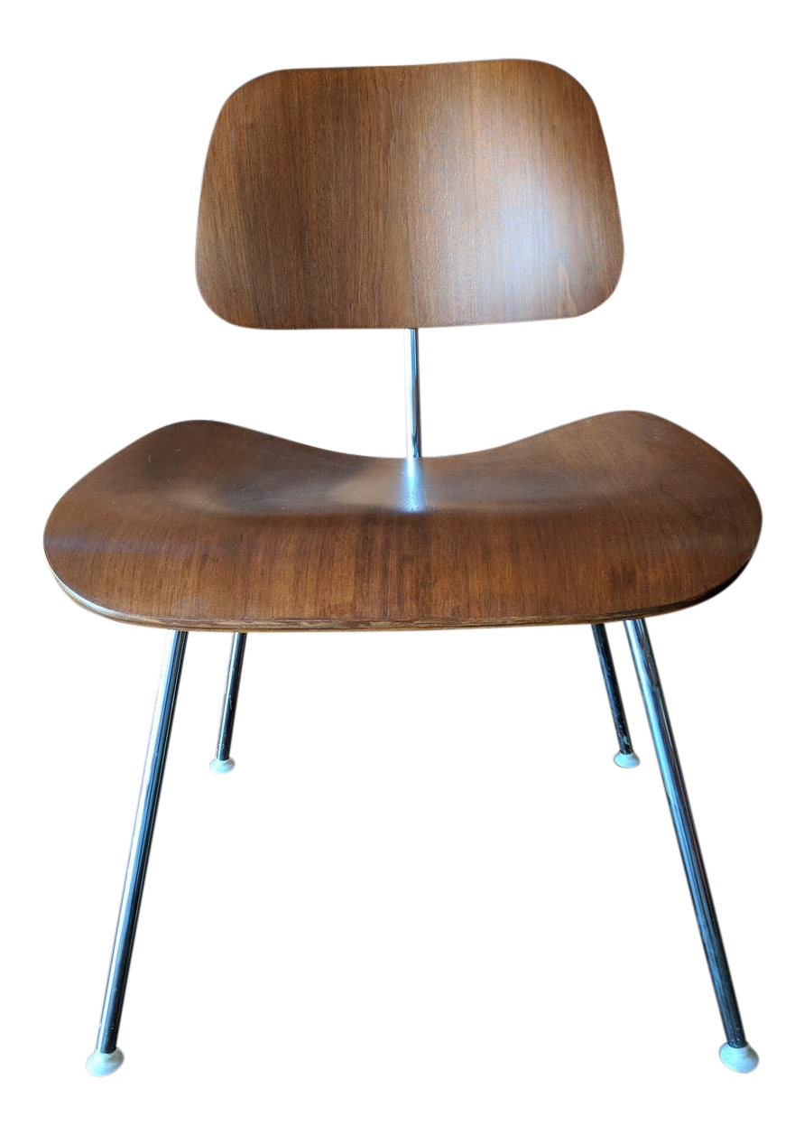 Authentic Eames Chair Refinished Walnut And Chrome, Tagged Herman Miller