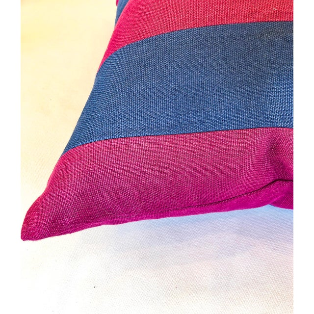 Contemporary Pink and Blue Striped Linen Pillows - a Pair For Sale - Image 3 of 6