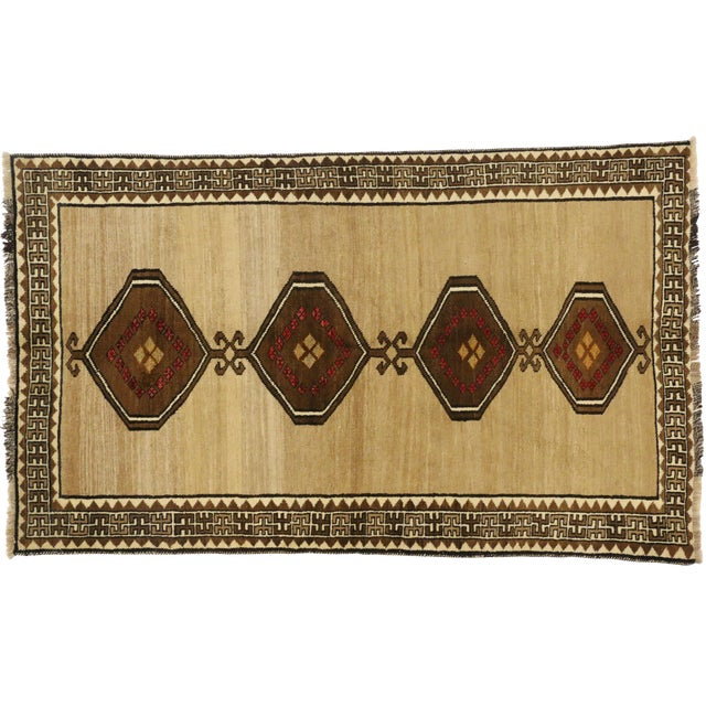 Vintage Persian Shiraz Accent Rug With Modern Tribal Style - 04'03 X 07'01 For Sale