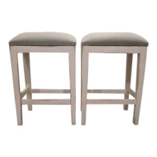 Bar Stool Seating - White Wood Stool With Light Blue Green Linen Fabric For Sale
