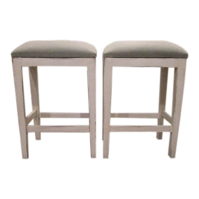 Bar Stool Seating White Wood Stool With Light Blue Green Linen Fabric
