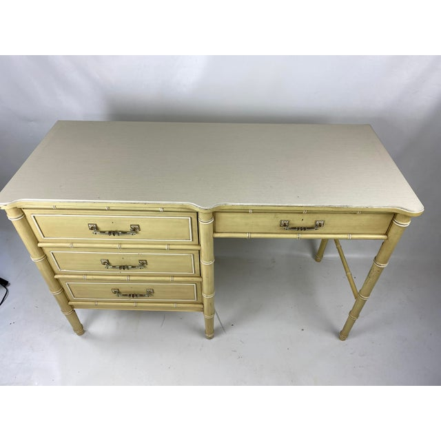 """Hollywood Regency 1960s Hollywood Regency Henry Link """"Bali Hai"""" Faux Bamboo Desk W/ Chair - 2 Pieces For Sale - Image 3 of 11"""