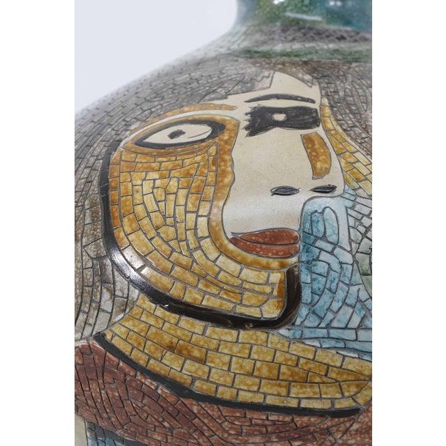 1960s Large Pablo Picasso Mosaic Ceramic Vase For Sale - Image 5 of 11