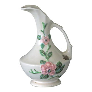 1940s Vintage Hull Pottery Usa Rosella Pink Dogwood Hand Painted Pitcher Ewer Vase For Sale