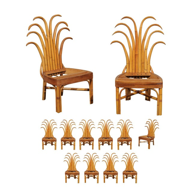 Jaw-Dropping Set of 8 Custom Made Palm Frond Dining Chairs, Circa 1950 For Sale - Image 13 of 13