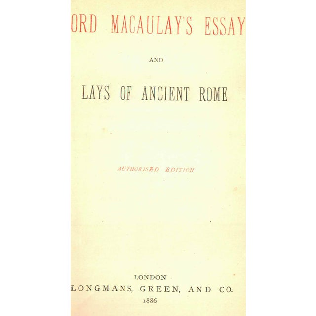 Good Topics For A Process Essay Lord Macaulays Essays And Lays Of Ancient Rome London Longmans Green  And Essay For Smoking also Arguments Essay  Lord Macaulays Essays And Lays Of Ancient Rome Collectible  India After Independence Essay