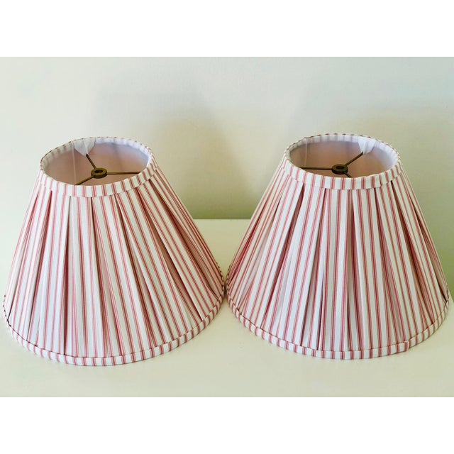 Custom Box Pleat Lampshades With Ticking Strip - a Pair For Sale In Charlotte - Image 6 of 6