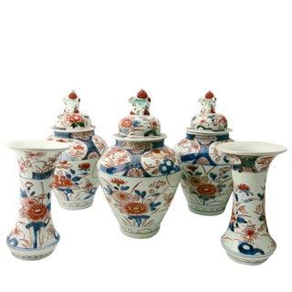 17th Century Antique Japanese Porcelain 5 Piece Porcelain Garniture - Set of 5 For Sale