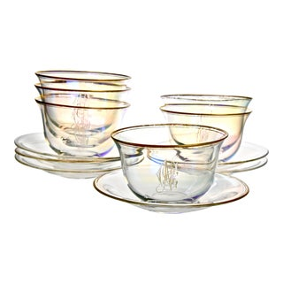 Mid 20th Century Gilt Iridescent Bowls & Under Plates Service For 6 For Sale
