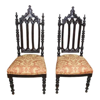 Spanish Moorish High Back Hall Chairs - A Pair For Sale