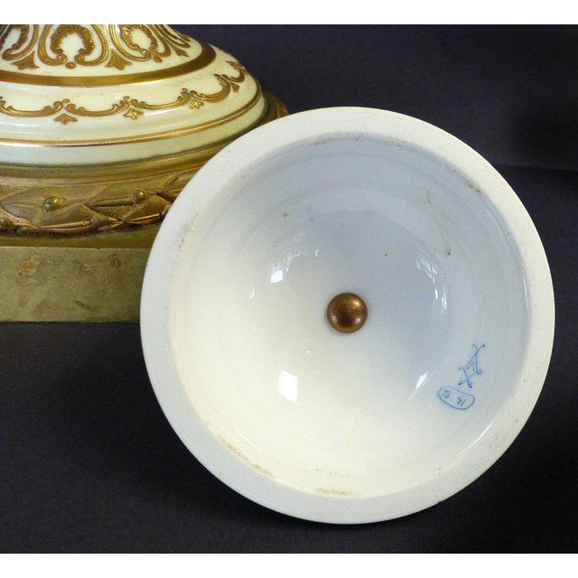 19th Century Hand-Painted Sevres Covered Urn Mounted in Gilt Bronze, Signed For Sale - Image 10 of 11